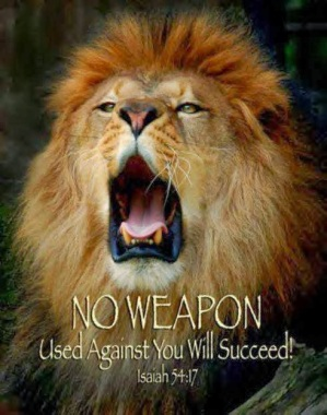 Lion roaring - no weapon formed against us!